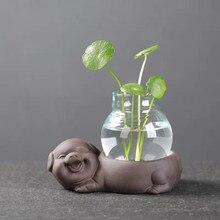 الإبداعية الحلزون Scindapsus زهرية النباتات الخضراء الحاويات الزجاج الأرجواني الطين لطيف الحيوان المائية زهرية ديكور غرفة مكتب المنزل