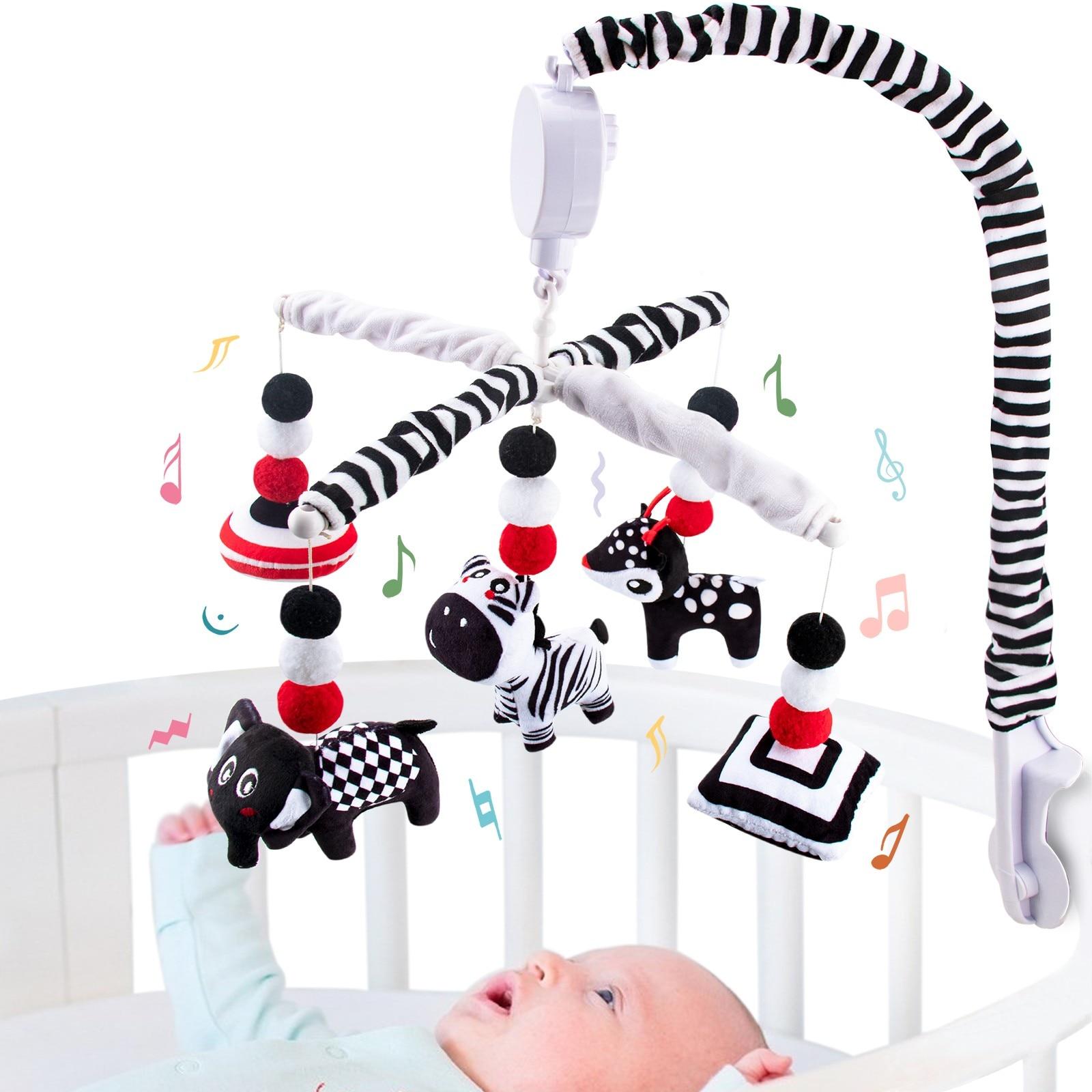 Teytoy My First Baby Mobile, مونتيسوري أبيض وأسود سرير متنقل لعب عالية التباين مهد متنقل للأطفال حديثي الولادة