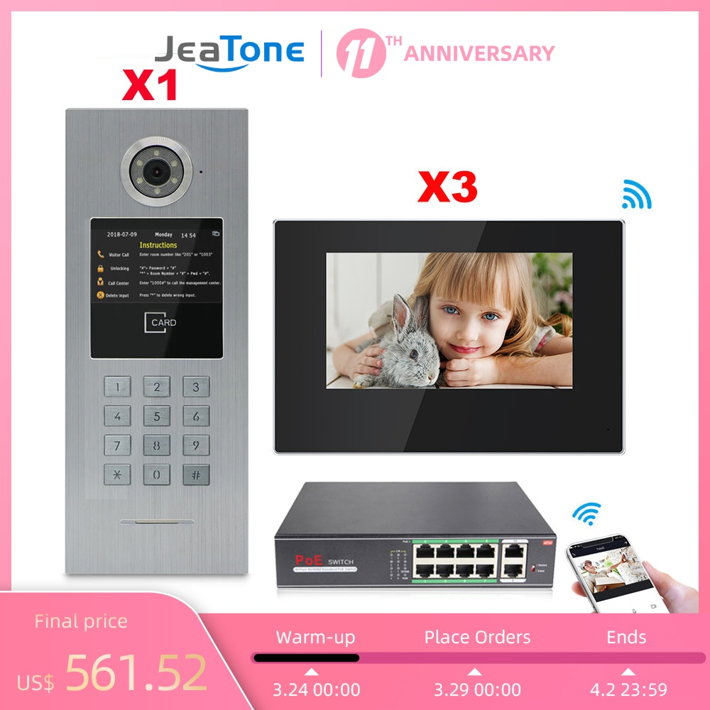 7''Touch Screen WIFI Video Door Phone IP Doorbell Intercom for Building Access Control System Support Password/IC Card/iOS Phone