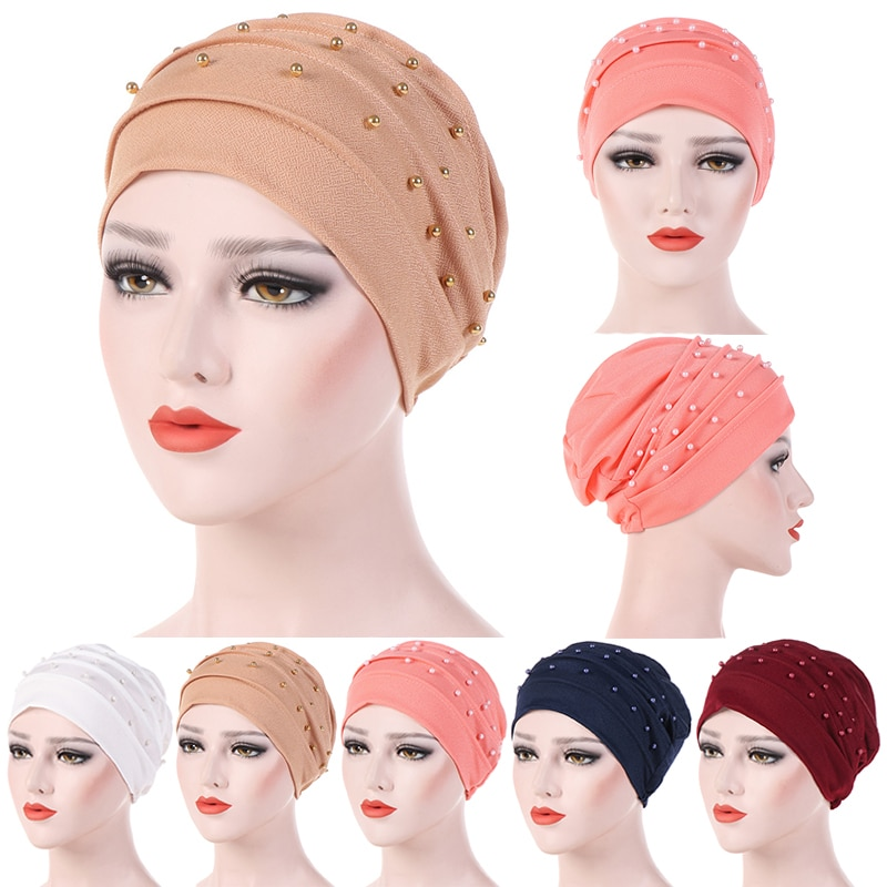 Touca atoalhada para cachecol muscular, chapéu turbante de pérola para mulheres e cancro, acessórios de cabelo