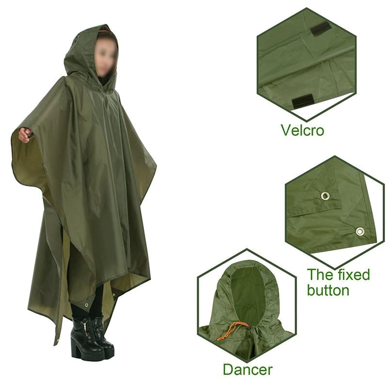 3 In 1 Outdoor Military Waterproof Raincoat Rain Coat Men Raincoat Women Awning From The Rain Motorcycle Rain Poncho Picnic Mat