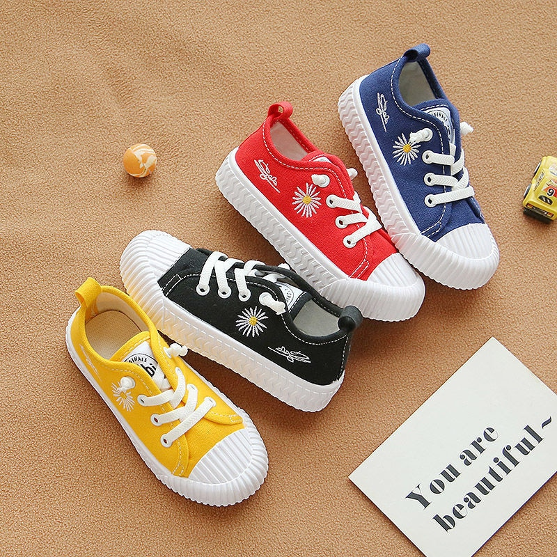 Children's Shoes Children's Canvas Shoes Boys' Shoes 2021 Spring Board Shoes Little Daisy Little White Shoes Middle Big Girls' little white shoes female spring 2020 new shoes students wild basic canvas shoes korean casual shoes daisy board shoes