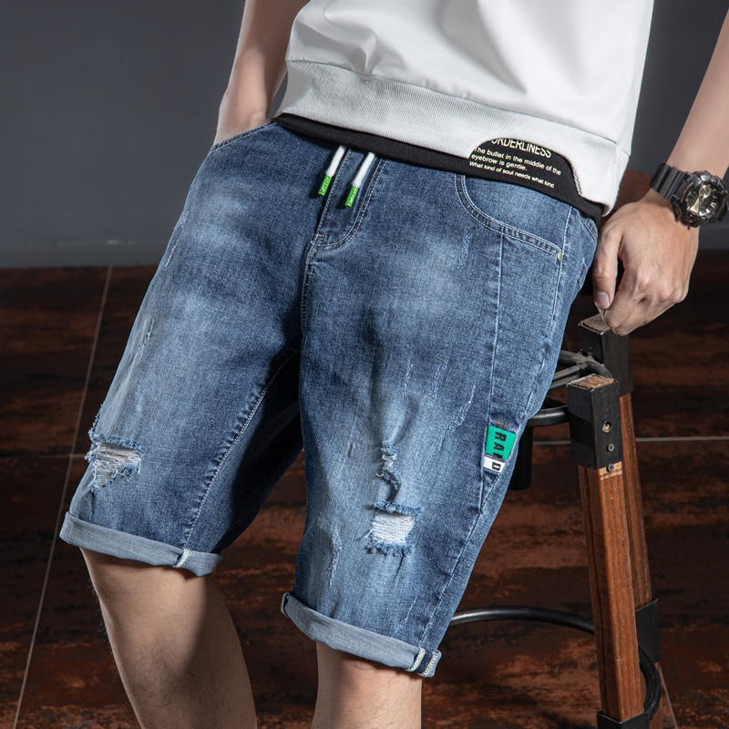 SHAN BAO high-quality cotton straight denim shorts 2021 summer personality hole stitching drawstring men's casual Jeans