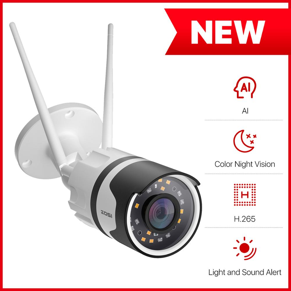 ZOSI-كاميرا أمان لاسلكية تعمل بالواي فاي بدقة 2 ميجابكسل عالية الدقة 1080 بكسل ، CCTV ، مراقبة فيديو خارجية ، صوت ثنائي الاتجاه ، رؤية ليلية مقاومة ل...