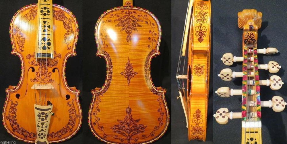 Mão feita profissão concerto hardanger violino norueguês (4*4) violino 4/4 #10173