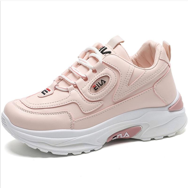 Zapatos deportivos de suela gruesa de cuero para Mujer, Zapatillas de cuña...