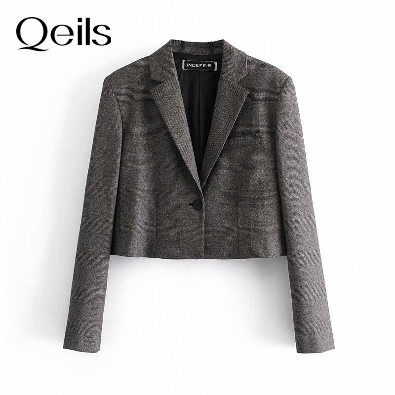 Qeils feminino 2021 causal vintage sólido escritório senhora blazer casaco de manga longa à moda gola entalhada senhoras outerwear chic topos