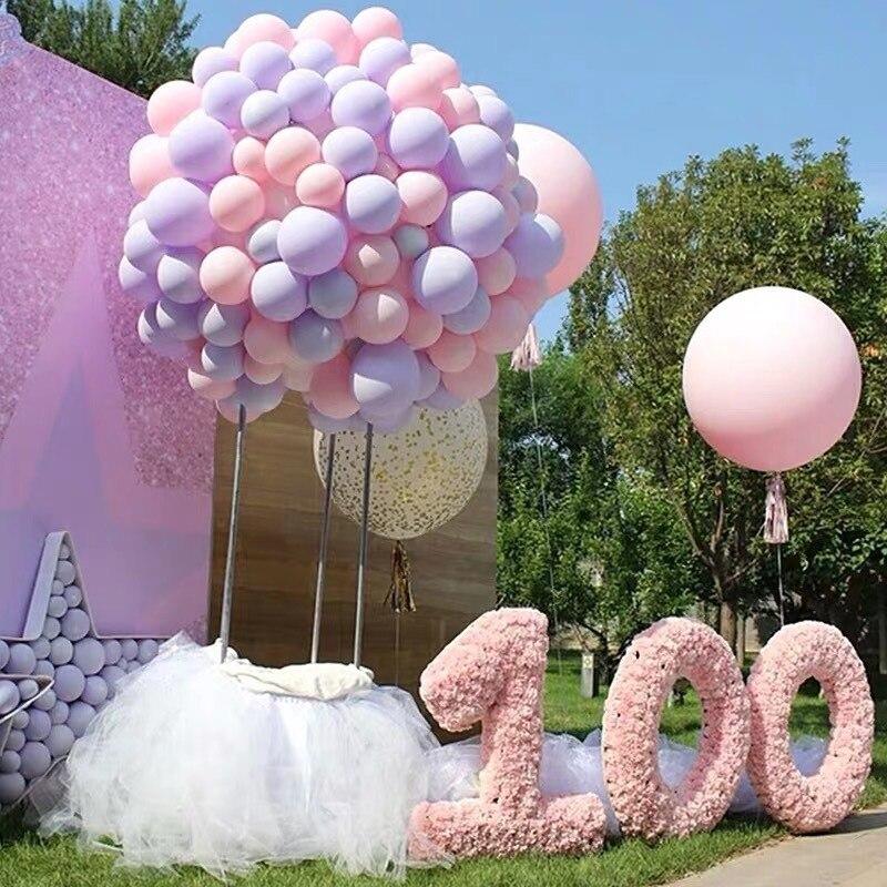 100 Uds. Globos de látex de 12 pulgadas Girly Pink, macarrón globo de color, decoración para fiestas de cumpleaños, bodas, suministros de decoración INS, accesorios
