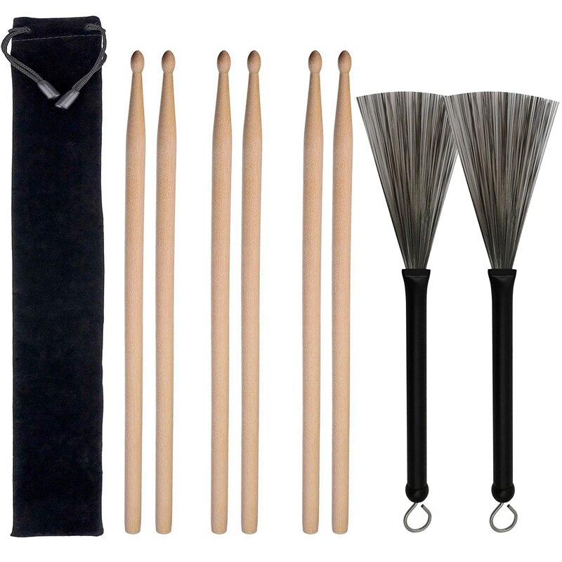 1 Juego de cepillos de alambre nuevos retráctiles de mango de aleación de aluminio, cepillos de tambor para accesorios de tambor de Jazz, negro