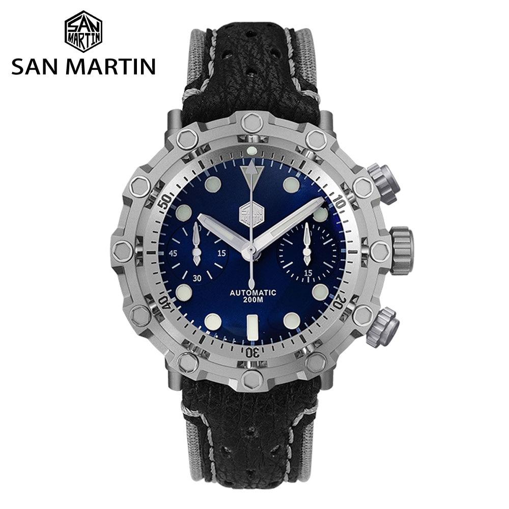 San Martin Diver Titanium Grade 5 Men Mechanical Watch Swiss ETA 7753 Chronograph Sapphire Shark Leather Limited Edition Relojes