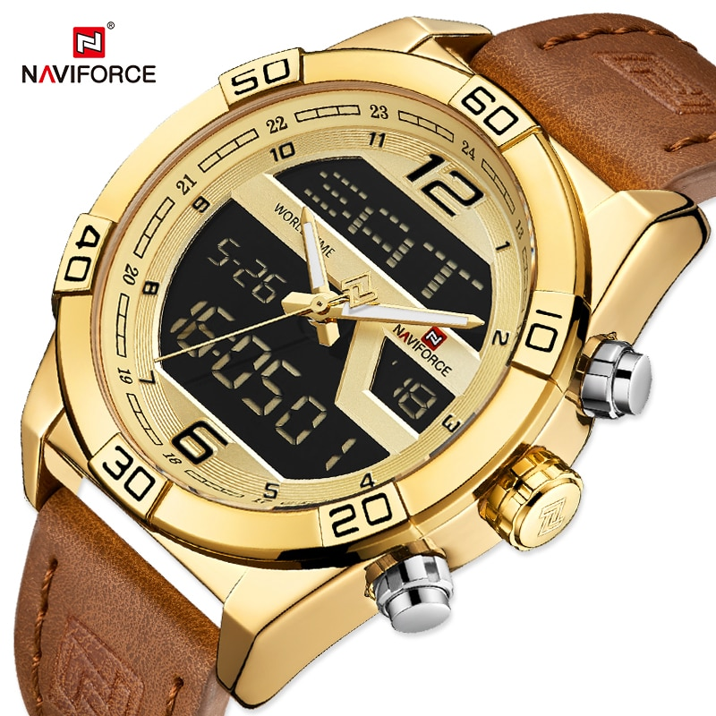 NAVIFORCE Luxury Gold Watches For Men Leather Band Waterproof Digital Alarm Sport WristWatch Man Mil