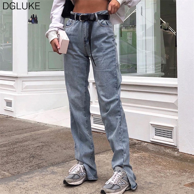 Dgluke cintura alta fenda lado reta jeans feminino streetwear extra longo denim calças de verão outono calças jeans casuais