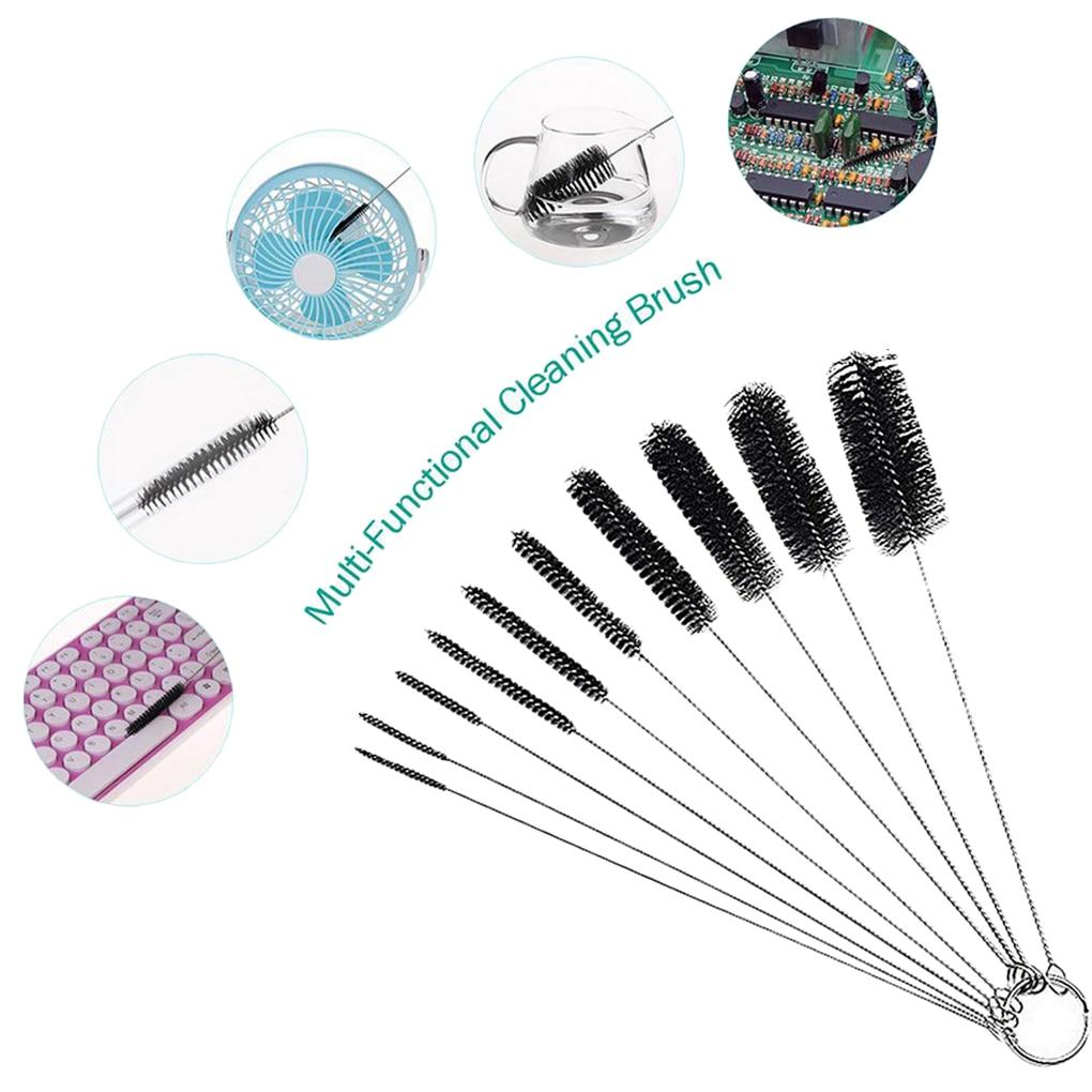 10Pcs/set Nylon Brush Multi-Functional Tools Cleaning Brush Drink Straws Sewing Machines Paint Spray Guns Cleaning Brush