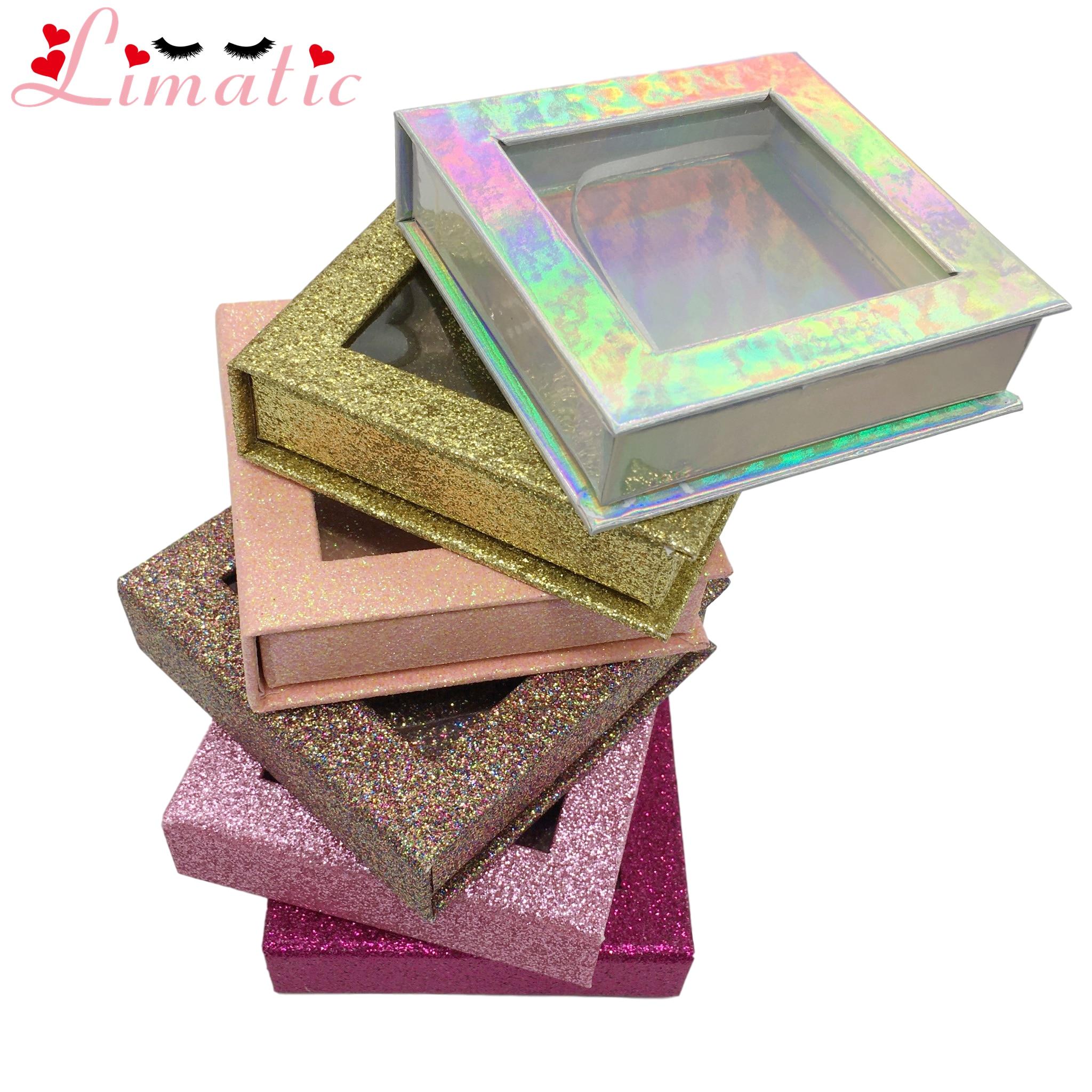 Caja de embalaje pestañas postizas paquete cuadrado logotipo personalizado colorido pestañas postizas de visón brillo al por mayor