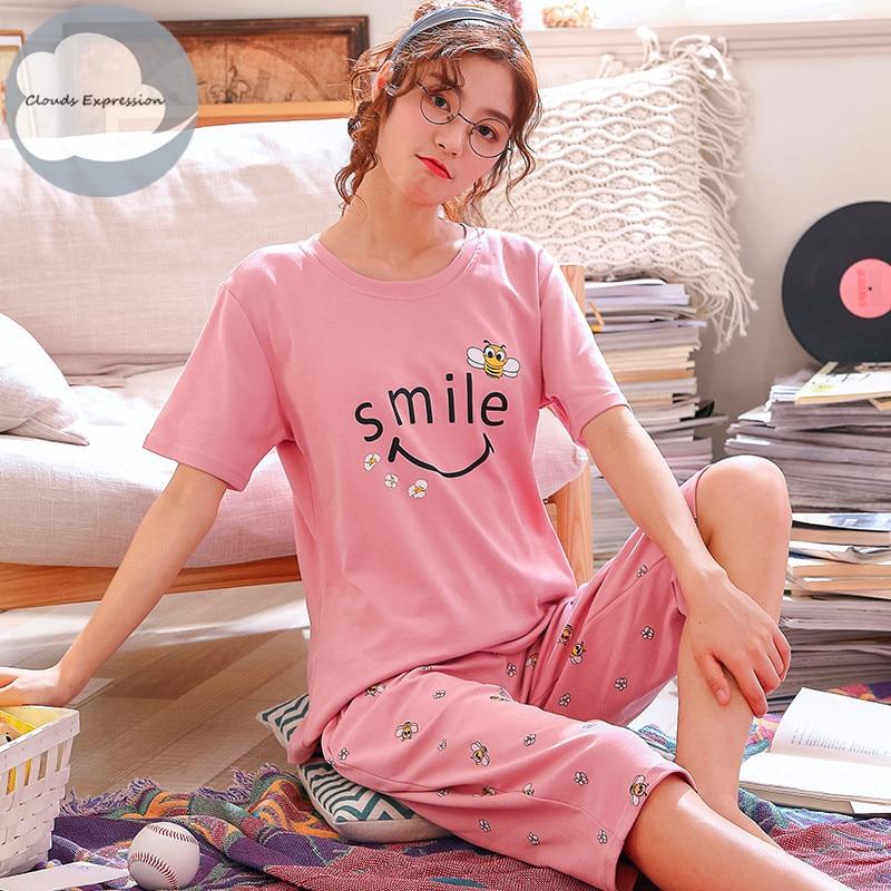 Summer Knitted Cotton Cartoon Pajamas Sets Women Pyjamas Sleepwear Nightwear Pijama Mujer Plus Size Calf-Length Pants Homewear