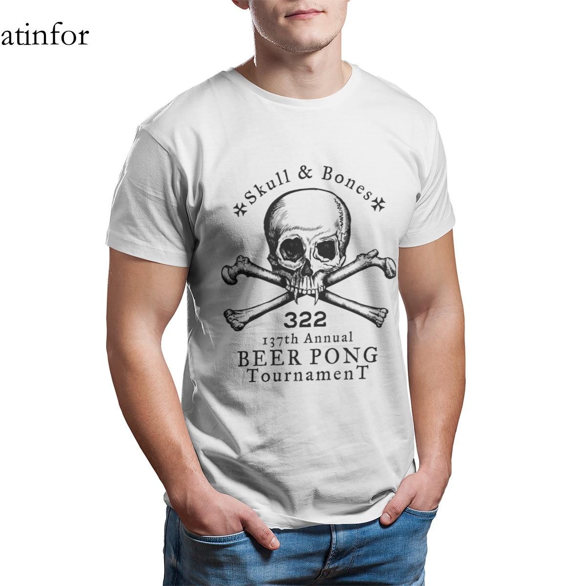 Skull Bones Beer Pong Tournament T-Shirt Print Custom Short Sleeve Graphic Cool T-shirt 25491