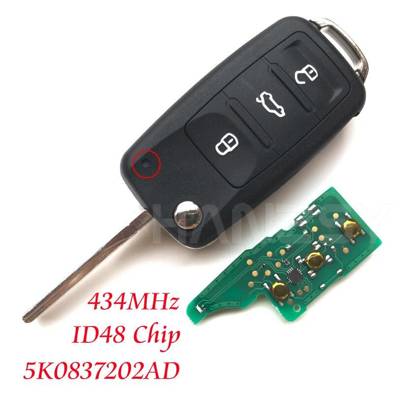 3 botones, 434Mhz, llave a distancia para Volkswagen VW Beetle Golf Eos Polo Sharan 2011 2012 2013, llave plegable con tapa, Chip ID48 5K0837202AD