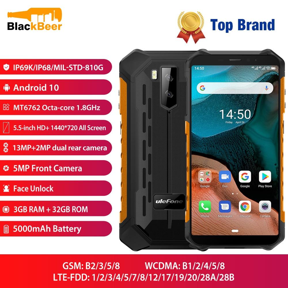 Перейти на Алиэкспресс и купить Ulefone Armor X5 5,5 дюйммобильный телефон 4G LTE прочный водонепроницаемый смартфон Android 10 Мобильный телефон 3 ГБ 32 ГБ MT6762 Восьмиядерный IP68 NFC