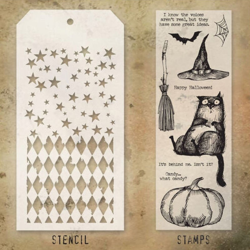 2021 New Halloween Pumpkins Cat Retro Clear Stamp and Stencil Set For DIY Making Greeting Card Scrapbooking No Metal Cutting Die