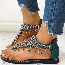 Summer Women Flat Sandals Shoes Boho Thong Flip Flops Sandals Rhinestone Beach Sandalias Peep-toe Female Sandalias D30