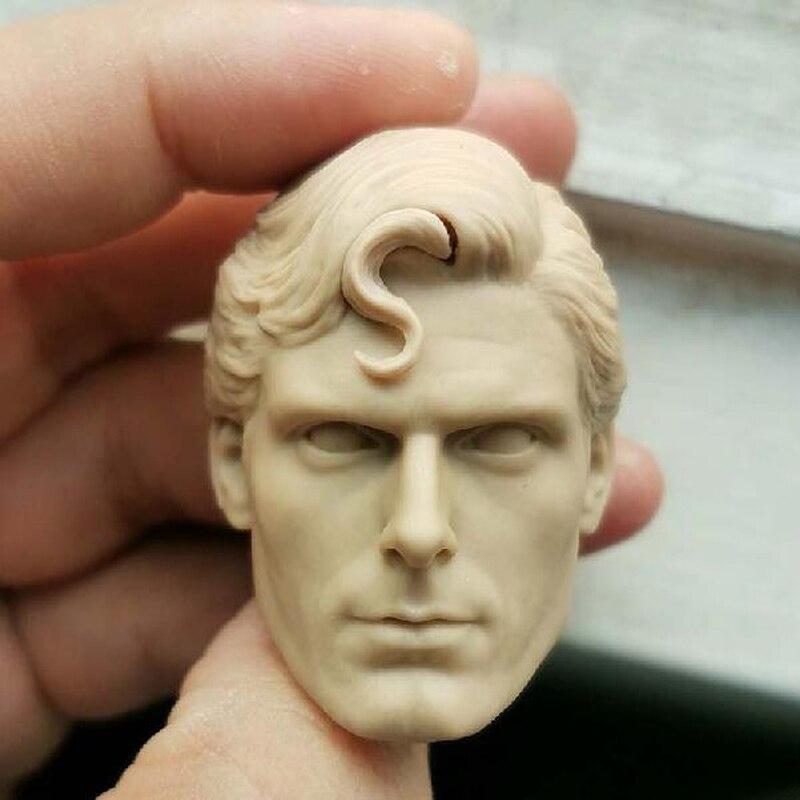 "En blanco 1/6 escala Superman Cristóbal Reeve cabeza esculpir sin pintar ajuste 12 ""figura"