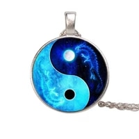 gold sliver black 3colors chain dragon moon yin yang tai chi time gem necklace european and american pendant chain necklace