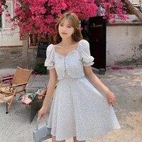 21 summer korean sweet dress floral print square collar puff sleeve mini dresses women green blue elegant dress female cx1792