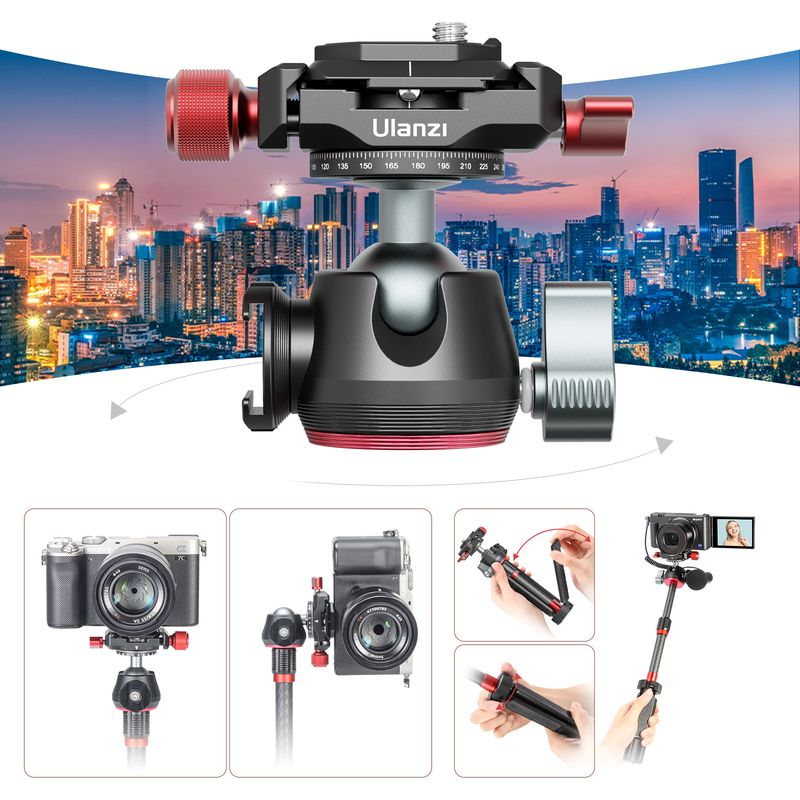 Ulanzi MT-43 Tripod Metal Extendable Selfie Stick Tripod Quick Release Plate 360 Ball Head for Camera iPhone Android Monopod DSL enlarge