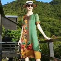 zuoman vintage 4xl plus size midi dress spring summer loose floral mulberry silk dress women elegant bodycon party vestido