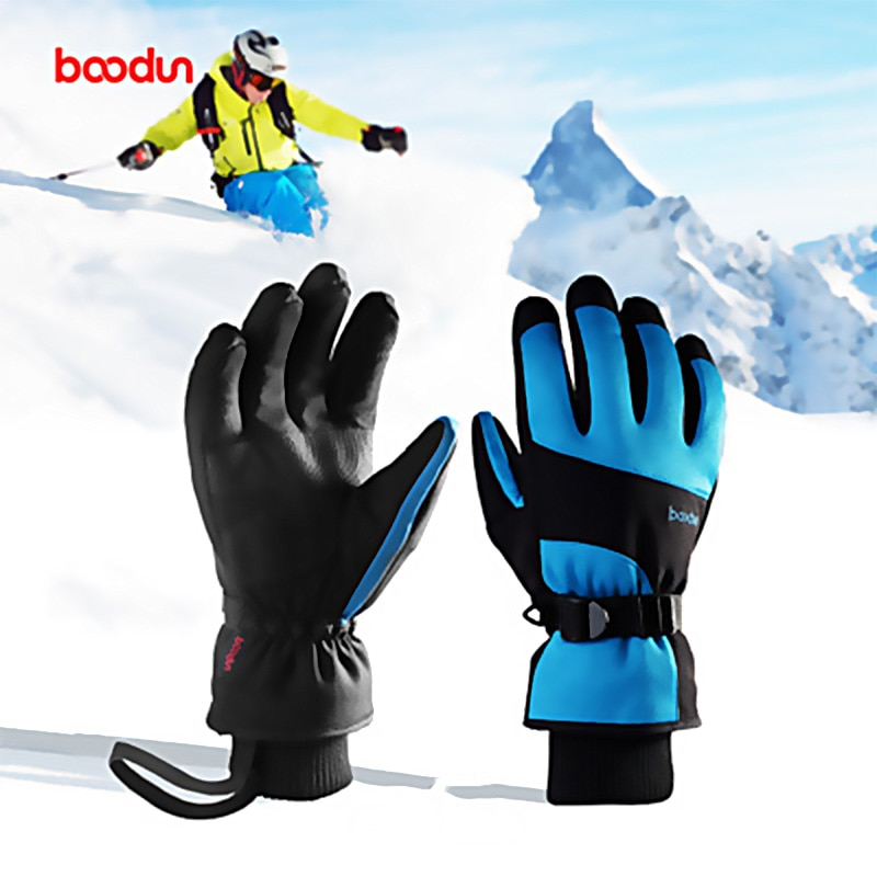 Boodun Winter Outdoor Sports Men Women Riding Thick Waterproof Windproof Full Finger Touch Ski Snow Warm Extended Wrist Gloves