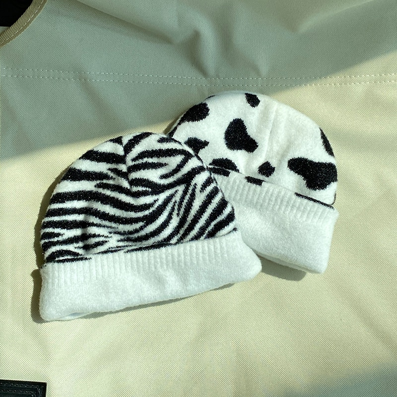 Hat Female Autumn and Winter Wild Korean Harajuku Style Ins Zebra Cows Pattern Dome Thickened Woolen