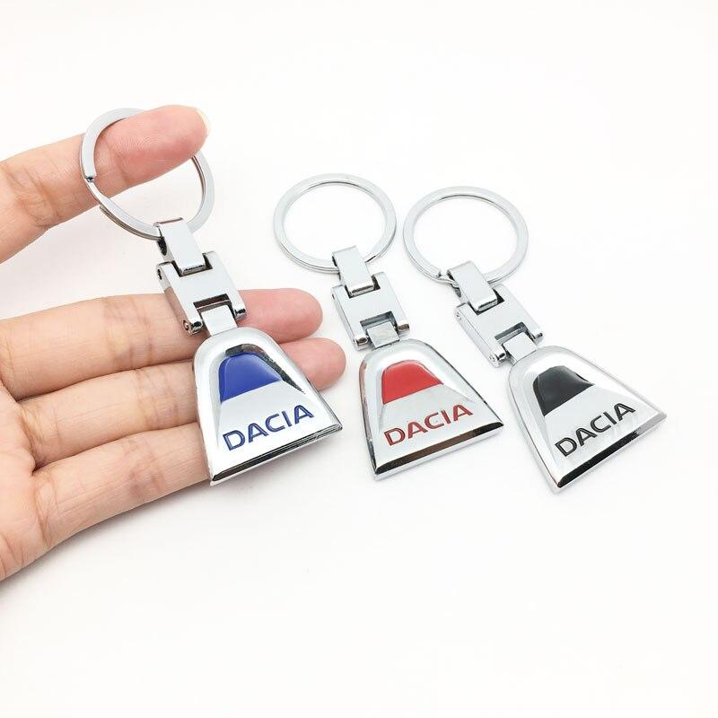 ANTINIYA 3D llavero metálico de auto Soporte para Llavero Decoración Para Dacia Duster Logan Sandero Stepway Lodgy Mcv 2 Dokker anillo de cadena