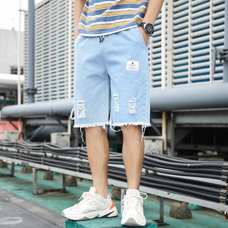 Мужские летние рваные джинсовые шорты до колен, повседневные облегающие короткие джинсы, однотонные джинсовые брюки с дырками в стиле High ...