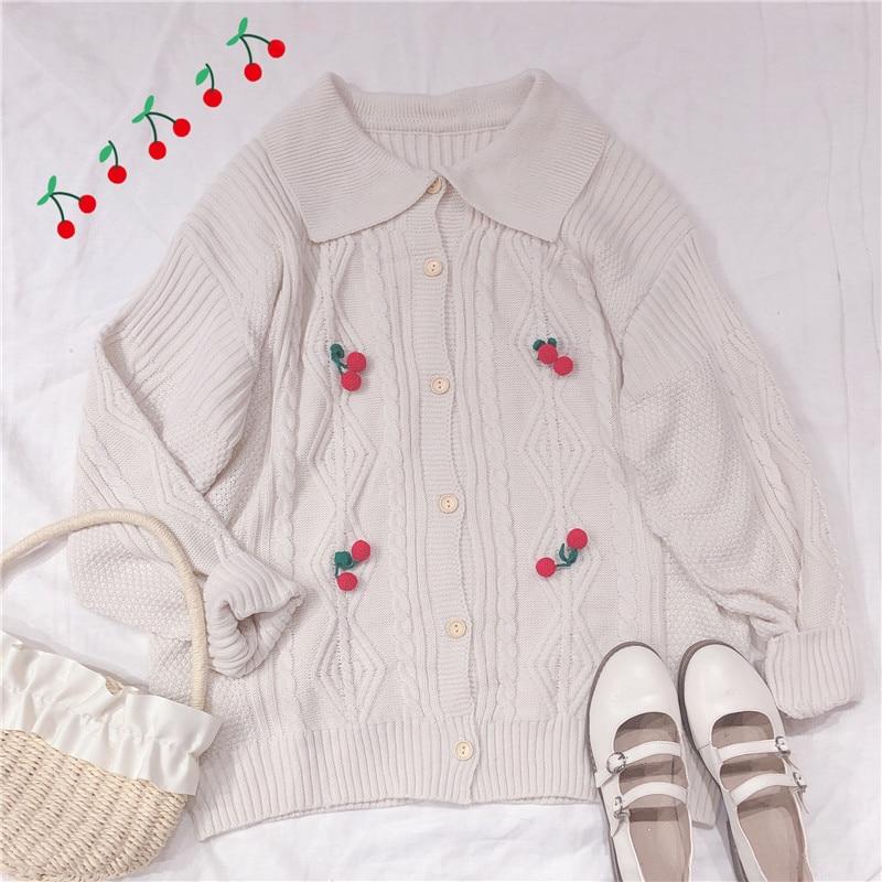 Suéter de Decoración Retro de cerezas con botones y mangas largas para mujer