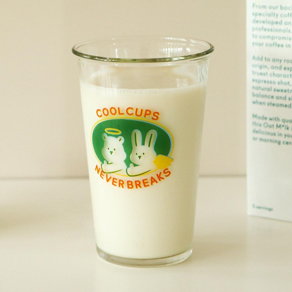 الكورية نمط الرجعية لطيف شفاف كوب ماء زجاجي التوضيح الكرتون الحليب كوب فنجان قهوة طالب