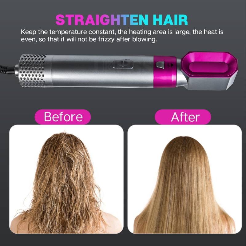 5 In 1 MultiFunctional Hair Dryer Comb Hot Air Styler Comb Straightening Curling Iron Roll Styling Brush Hair Styling Tool enlarge