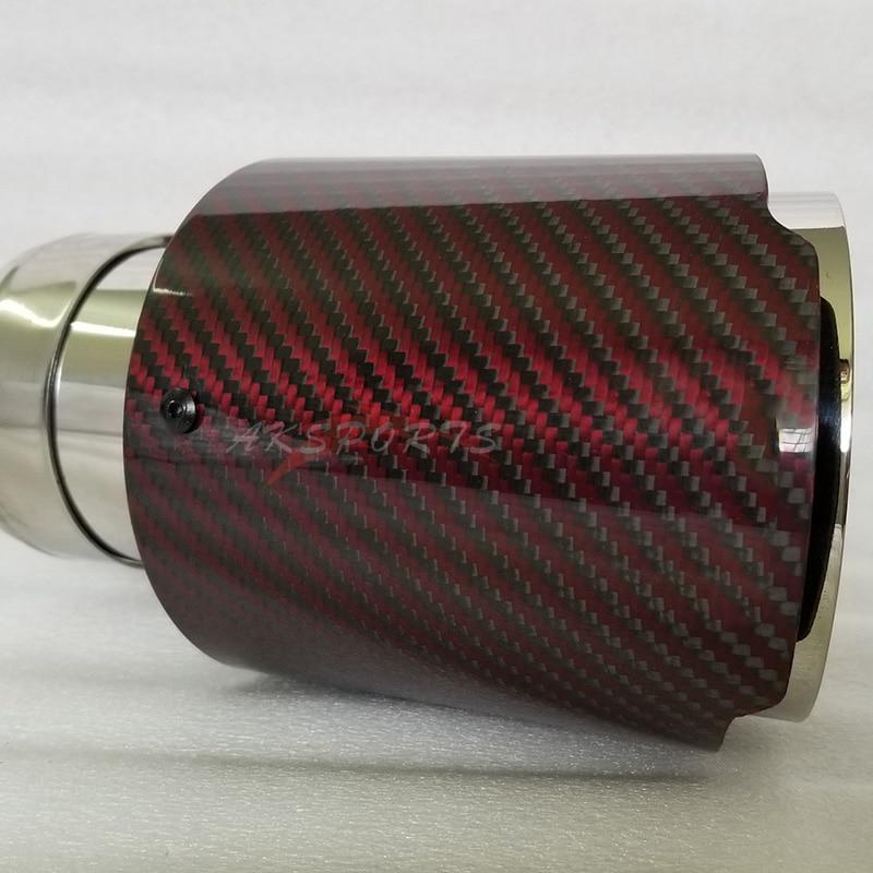 114mm salida Universal Logo de fibra de carbono tubo de escape de coche silenciador punta rojo brillante de Cubierta de fibra de carbono para Aud