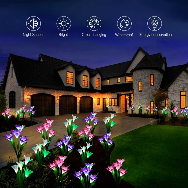 High-conversion Solar Lily Flower Lawn Garden Lamp with Large Capacity Battery for Terrace Decorative Lighting