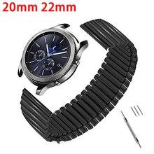 Bandes élastiques acier inoxydable 20mm 22mm pour Samsung Galaxy montre 3 45mm 41mm Bracelet mat/poli métal Bracelet noir