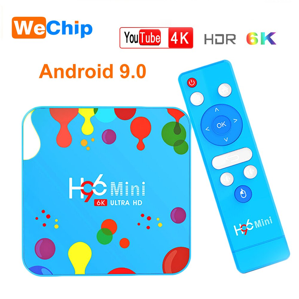 H96 4GB 128GB Android 9,0 TV Box Allwinner H6 Quad Core 6K H.265 Dual Wifi Bluetooth 4K HD de Youtube Set top box 4G32G H96mini caja