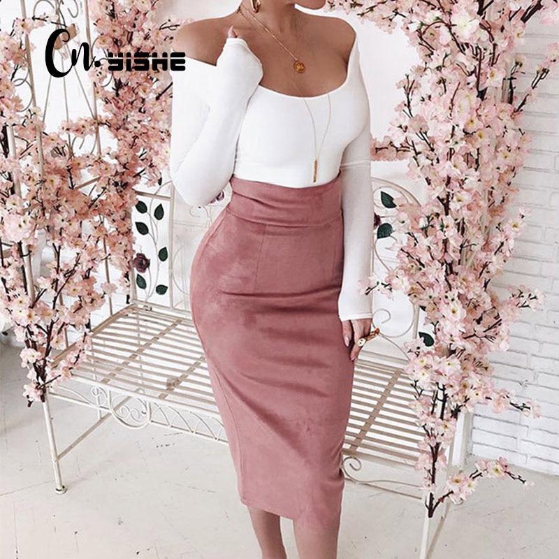 CNYISHE Midi High Waist Suede Pencil Skirts Women 2020 Autumn Fashion Bodycon Sexy Slim Women Skirt Regular Office Lady Bottoms