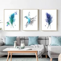 watercolor feather abstract bird canvas painting blue and purple posters and prints wall art picture for living room home decor