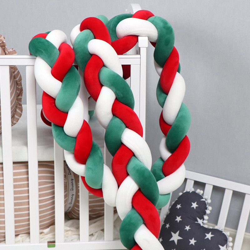 Baby Crib Bed Bed Circumference Christmas Style Knotted Fence Home Baby Crib Bed Circumference Protect Babies From Collisions enlarge