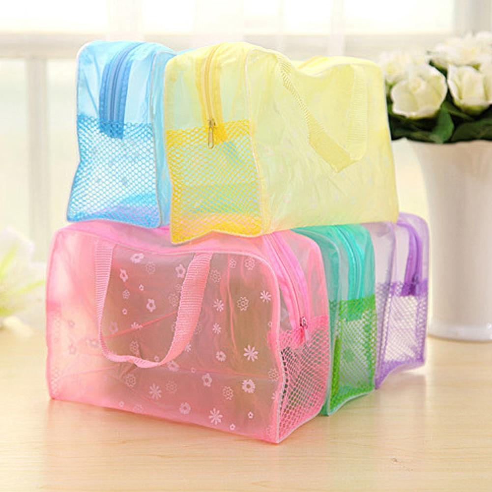 PVC Waterproof Cosmetic Bag Women Travel Transparent Floral Print Makeup Bag Make Up Organizer Femal