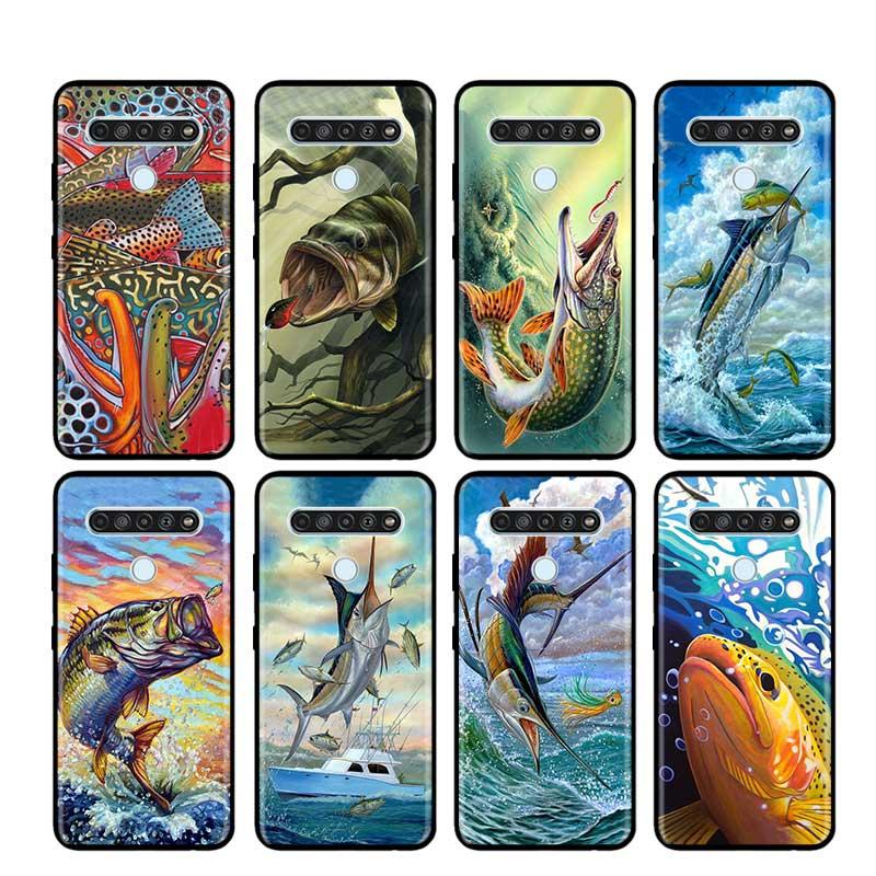Case Cover for LG K40 K40S K41S K50S K51S K61 G6 G7 G8 (ThinQ) Q51 Q60 Q61 Q70 Phone Thin Shell Pike Fish Art Fishing Lure