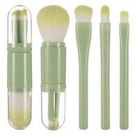 4 в 1 Портативный 4 шт. зеленый набор кистей для макияжа косметический порошок для растушевки тени для глаз румян, Красота поездка инструмент...