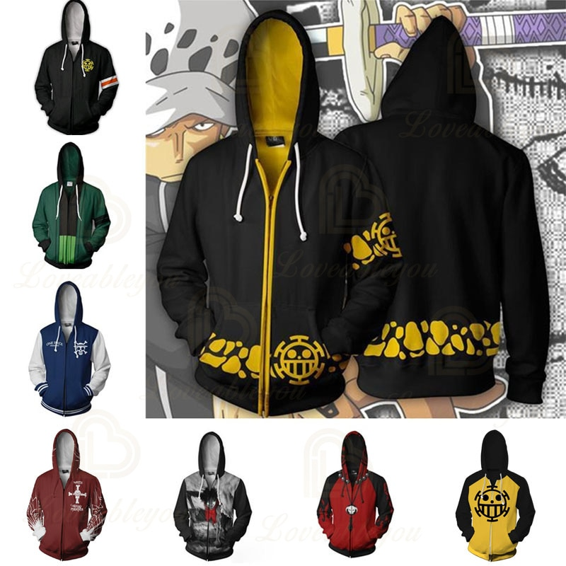 Animation One Piece Trafalgar Law Corazon Hoodies Zipper Sweatshirts Men Women Outfit Coat Jacket Manga 3D Cosplay Costume 3d printing one piece trafalgar law cosplay costume hoodie sweatshirts men women anime jacket clothing costumes