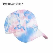 Twoheartsgirl Colorful Tie-dye Visor Hat Baseball Caps for Women Adjustable Polyester Casual Sports