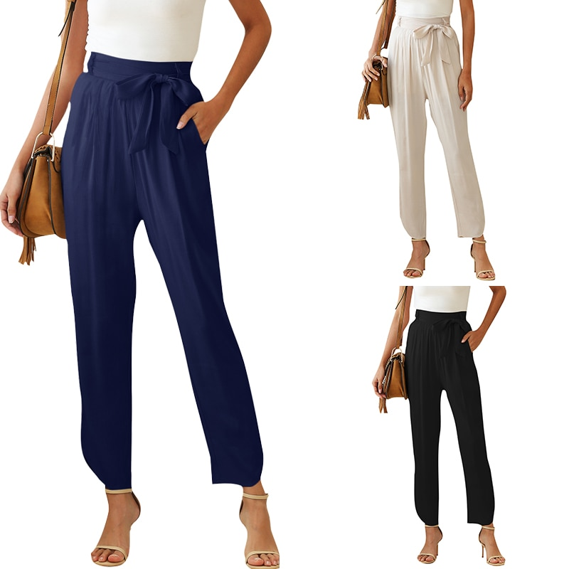 2020 New style High Waist Pants Women Plus Size Loose Solid Color Bandage Bow Summer Tops Office Lad