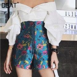 Deat 2020 novos calções de verão das mulheres cintura alta flare estilos longos zíperes metal ouvido impresso moda qualidade tiro hots wl